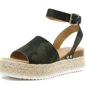 SODA Topic Flatform Sandals Espadrille Camouflage